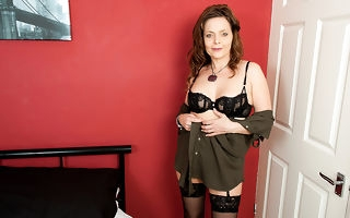 Naughty British housewife playing with mortal physically