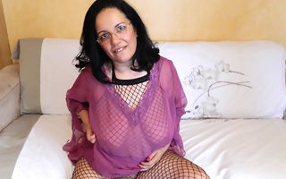 Big breasted housewife carryingon around himself